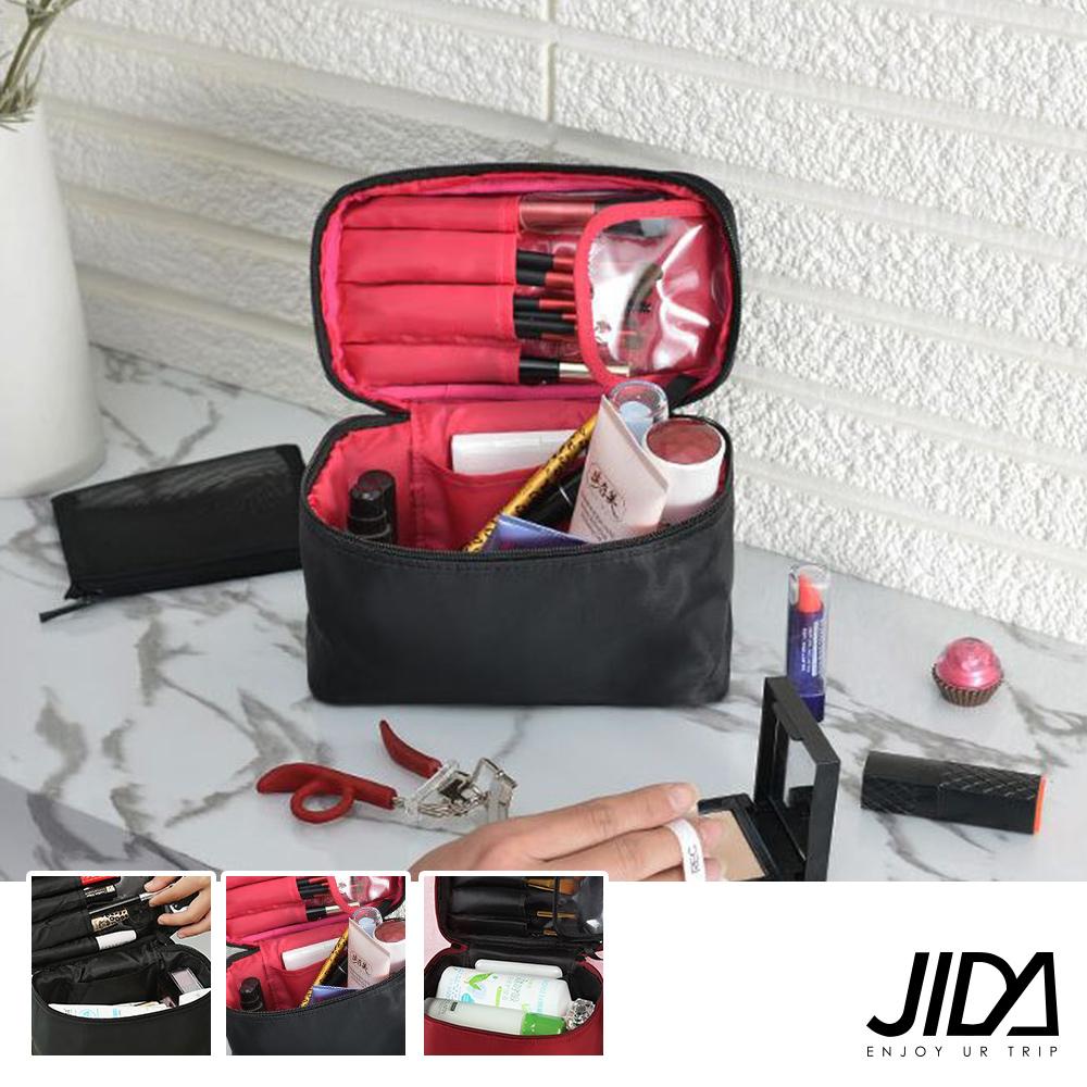 JIDA 網美款 加大款防水手提化妝包-可收刷具
