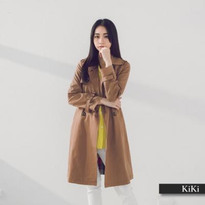 【KiKi】格紋內裡經典風衣-外套(二色)