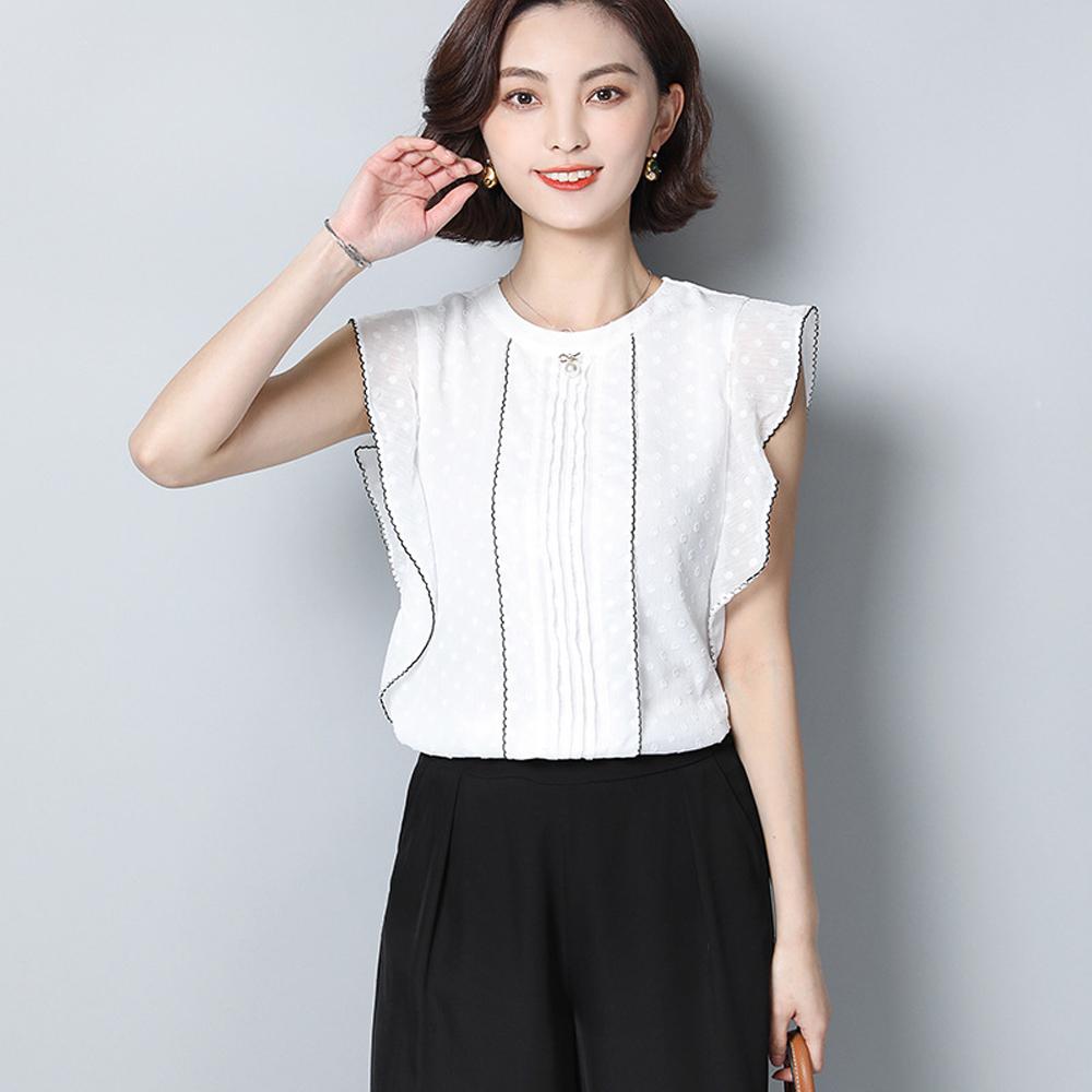 ALLK 荷葉袖蕾絲上衣 白色(尺寸M-XXL)