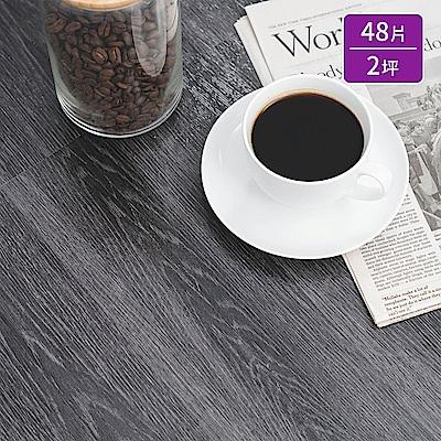 樂嫚妮 奈米銀負離子/超耐磨塑膠PVC仿木紋DIY地板貼/48片二坪-雷克雅維克木紋-台灣