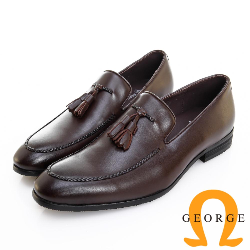 GEORGE 喬治皮鞋 經典系列 素面編織流蘇紳士樂福鞋 -咖