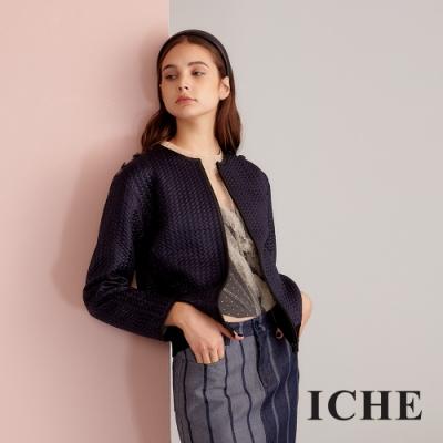 ICHE衣哲 精緻3D壓紋拼接設計款飛行外套-藏藍