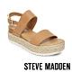 STEVE MADDEN-CICI 亮點金屬拼接麻編一字繫帶厚底涼鞋-卡其棕 product thumbnail 1