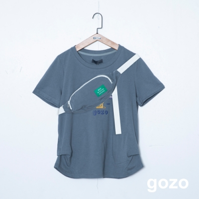 gozo 趣味跳水人物印花棉T(附斜背包)(二色)