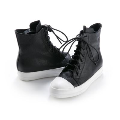 Robinlo 奶油頭牛皮綁帶休閒平底短靴 黑色