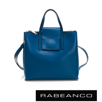 RABEANCO 真牛皮革翻蓋設計肩揹/斜揹方包(大) 墨水藍
