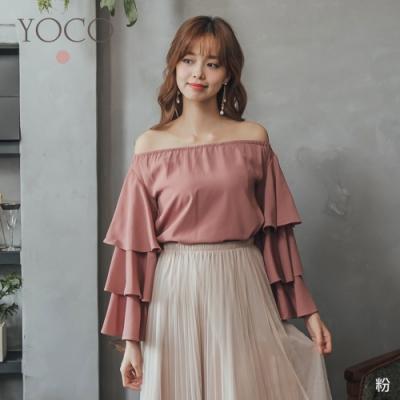 YOCO甜美可愛一字領多層次袖上衣-S.M.L