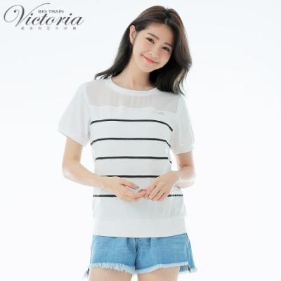 Victoria 織帶壓條撞色基本短袖T-女-白色