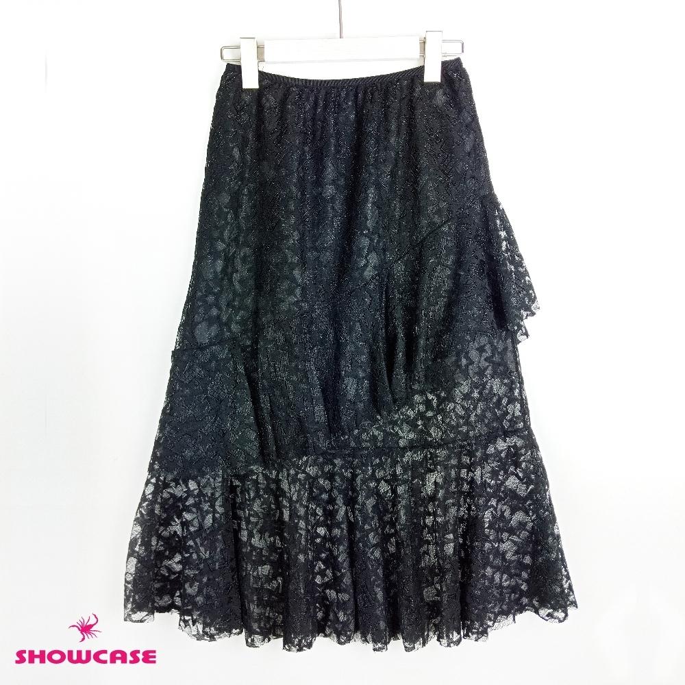【SHOWCASE】雙斜荷葉襬星星蕾絲長裙(黑)