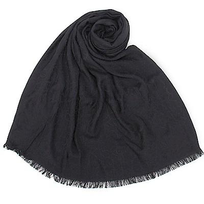 Calvin Klein CK滿版LOGO絲質寬版披肩圍巾-黑色