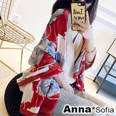 AnnaSofia 虹涔繪藤 亮緞面仿絲披肩絲巾圍巾(紅米系)