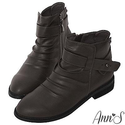 Ann'S手工抓皺造型釘扣低跟平底短靴-灰