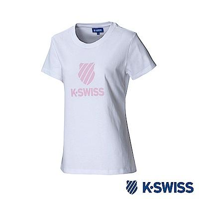 K-Swiss Shield Logo Tee印花短袖T恤-女-白