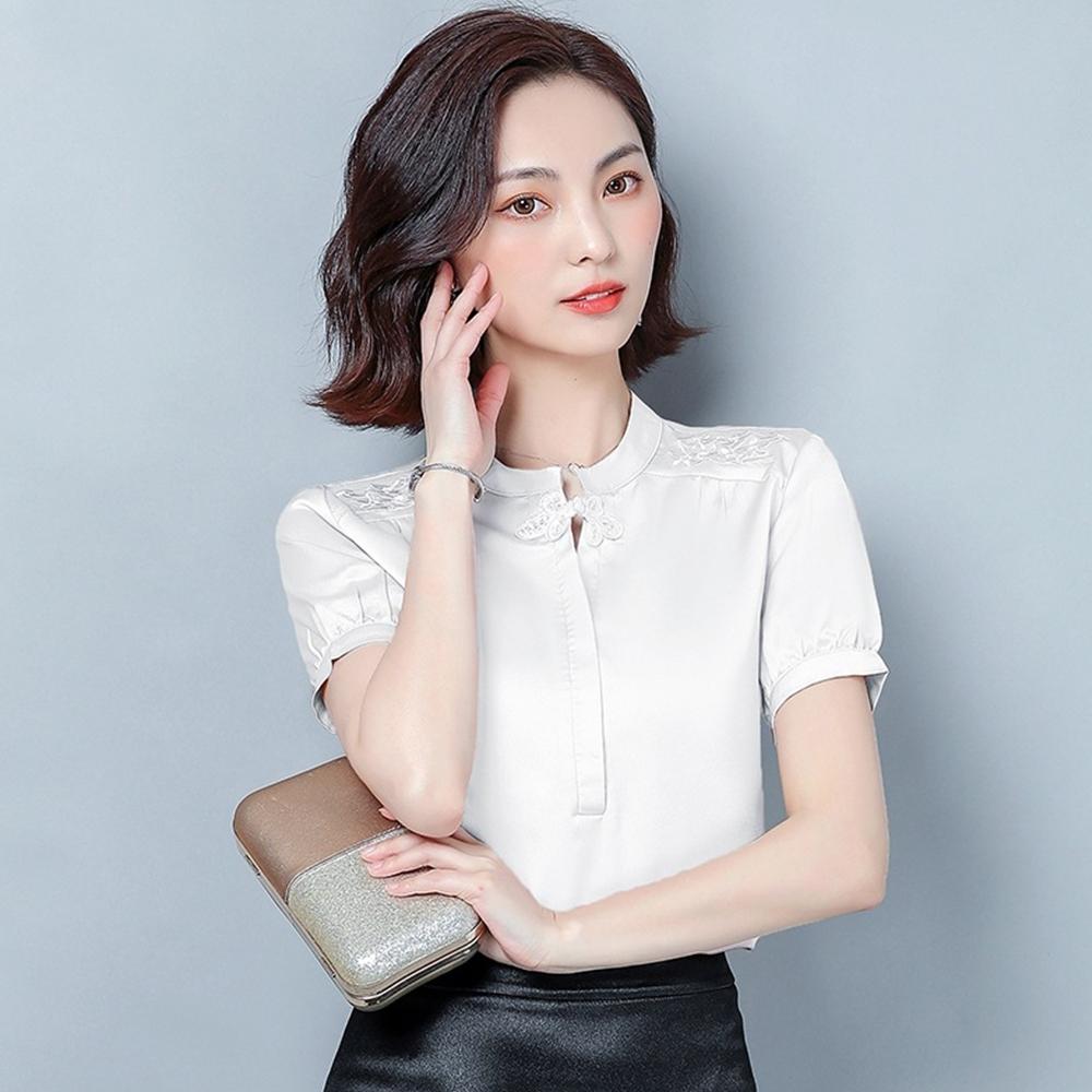 【KISSDIAMOND】高檔仿真絲短袖襯衫上衣(舒適/涼感/百搭/KDT-697)