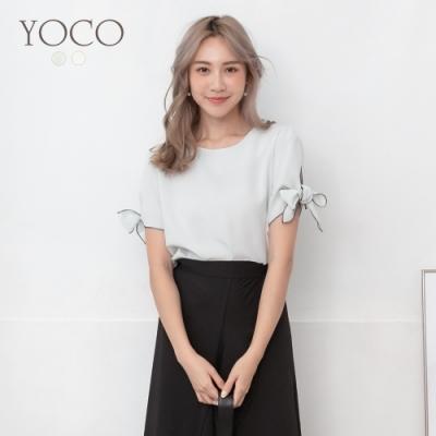 東京著衣-YOCO 製造浪漫蝴蝶結造型微露背雪紡上衣-S.M.L(共二色)