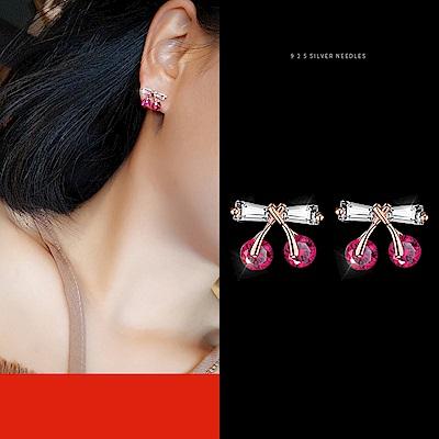 梨花HANA  韓國S925銀針小巧桃紅櫻桃晶瑩耳環