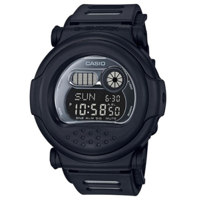 G-SHOCK 消光黑霧面大圓造型設計休閒運動錶-(G-001BB-1)/51.7mm