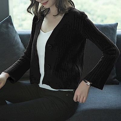V領羅紋針織小外套-M~XL(共四色)-糖潮
