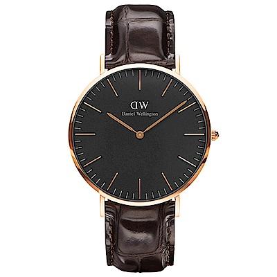 DW手錶 官方旗艦店 40mm玫瑰金框 Classic Black 深棕真皮皮革手錶