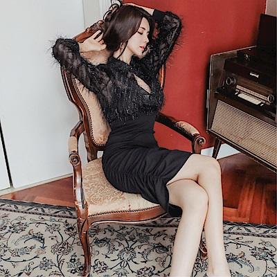 DABI 韓系時尚名媛氣質顯瘦包臀晚宴禮服裙長袖洋裝
