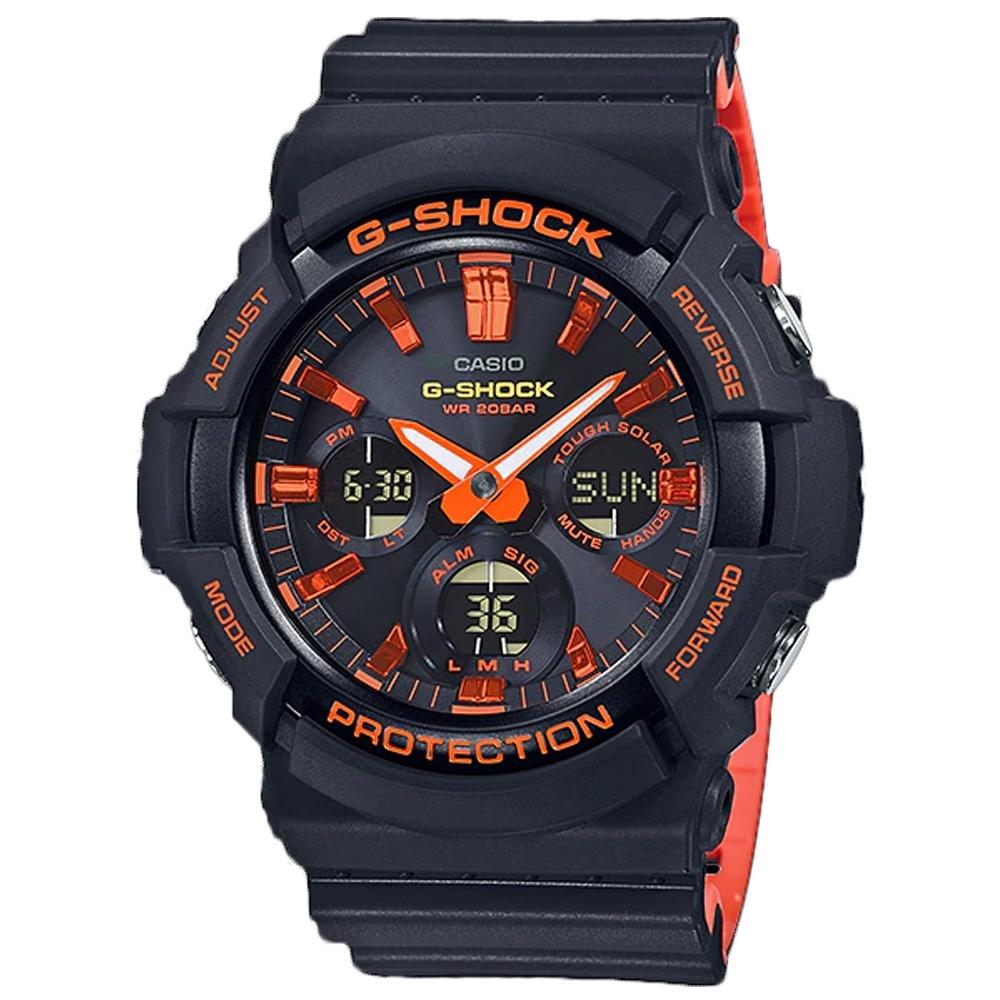 G-SHOCK 強悍橘紅雙色混搭太陽能運動腕錶(GAS-100BR-1A)/55.1m