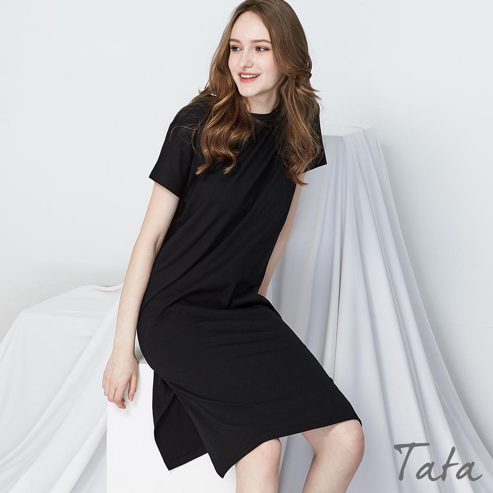 素面側開叉短袖洋裝 TATA