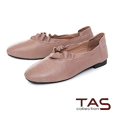 TAS 簡約羊皮抓皺平底娃娃鞋-名媛杏