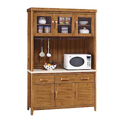 MUNA 愛莉絲柚木4.2尺石面餐櫃(碗盤櫃組) 126.5X43X196cm