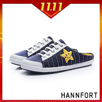 HANNFORT CALIFORNIA童趣塗鴉帆布休閒穆勒鞋-女-棒球藍