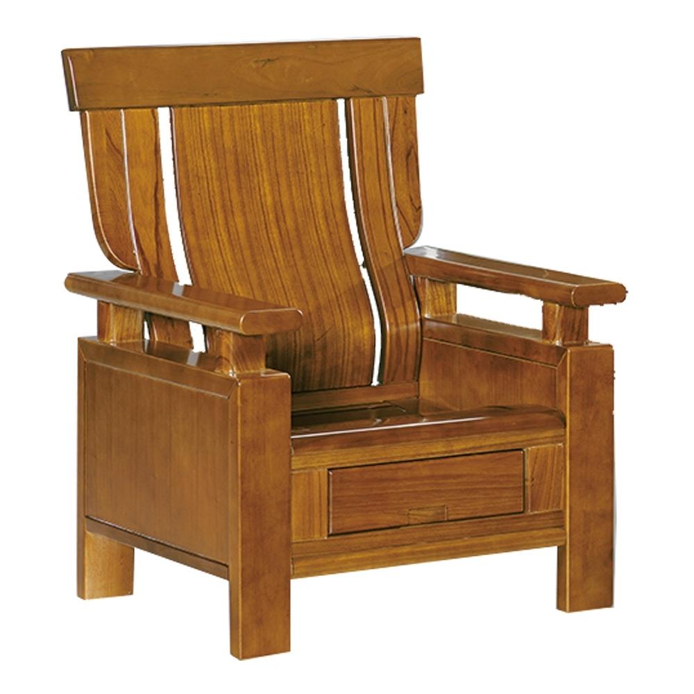 綠活居 魯瑟典雅風實木抽屜單人座沙發椅(單抽屜設置)-88x76x103cm免組
