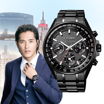 CITIZEN 光動能衛星報時站三眼腕錶-黑(CC4004-58E)/44mm