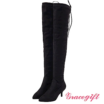 Grace gift-尖頭後綁結細跟膝上靴 黑