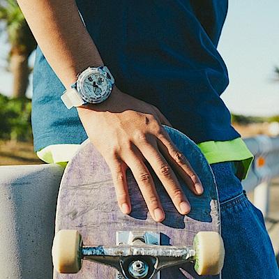 CASIO卡西歐 G-SHOCK 半透明 秘境海岸 藍x白 替換式錶帶 GA-2000HC-7A_48mm