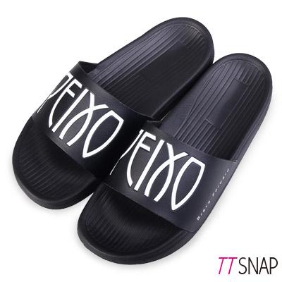 TTSNAP涼拖鞋-時尚大方撞色運動彈性涼拖鞋 黑