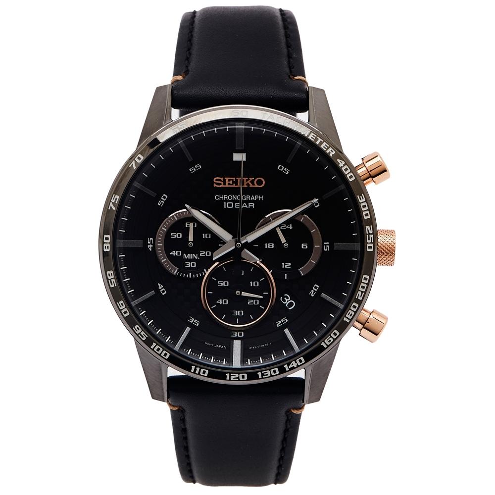 SEIKO 三眼計時皮革錶帶手錶(SSB361P1)-灰黑面X玫瑰金色/44mm