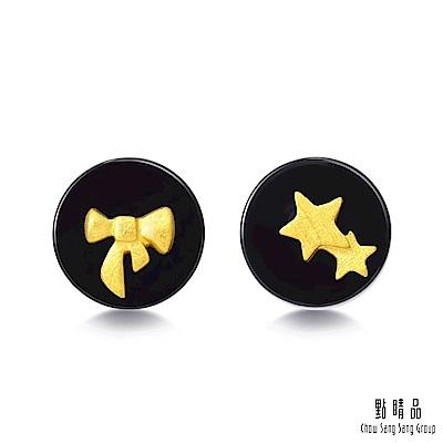 點睛品 吉祥系列 美麗與夢想 黑玉髓黃金耳環