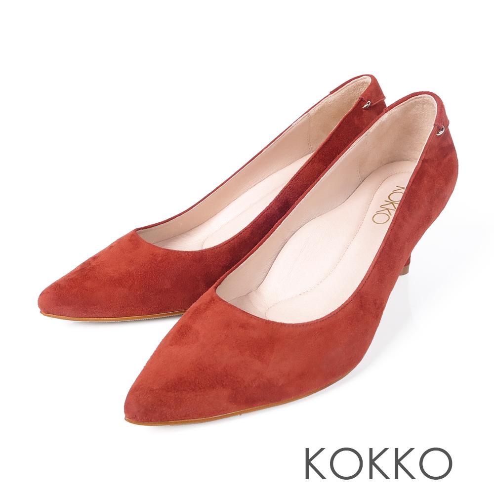 KOKKO -曼哈頓日落尖頭真皮高跟鞋-慾望紅