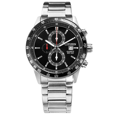 CITIZEN 三眼計時日本機芯防水百米不鏽鋼(AN3600-59E)手錶-黑色/44mm