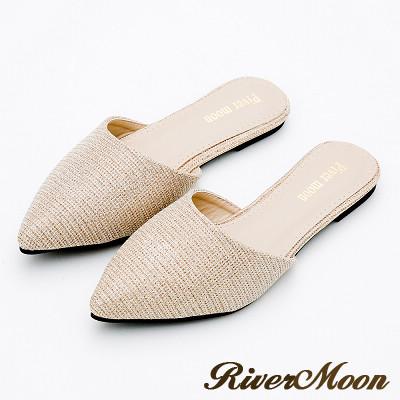 River&Moon大尺碼-優雅名媛氣質亮粉尖頭穆勒鞋-金
