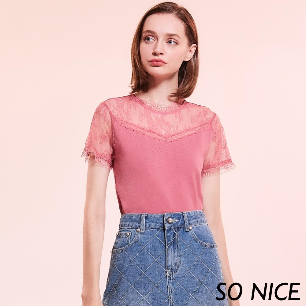 SO NICE法式鏤空蕾絲V領針織上衣 product image 1