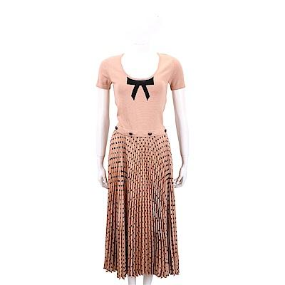 ELISABETTA FRANCHI 可拆式 雙材質拼接針織雪紡百褶洋裝