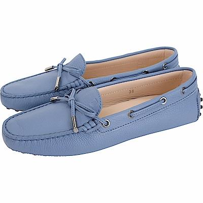 TOD'S Gommino 經典綁帶休閒豆豆鞋(女鞋/薄霧藍)