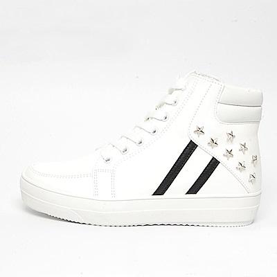 【AIRKOREA韓國空運】正韓拼接雙色鉚釘高筒運動休閒鞋-白