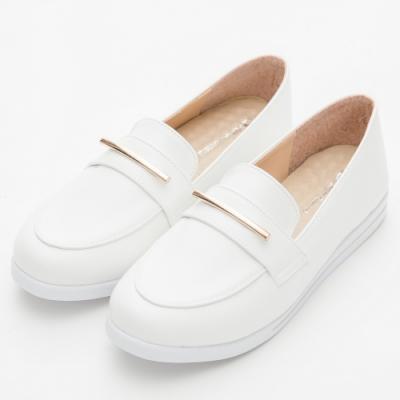 River&Moon休閒鞋 MIT金飾厚切乳膠樂福鞋 白