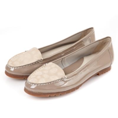 G.Ms. 漆皮拼接壓紋牛皮莫卡辛平底鞋-可可灰