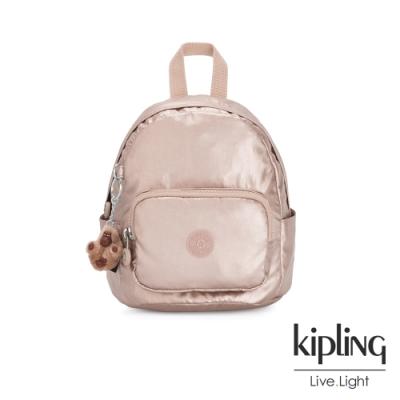 Kipling 金屬光玫瑰金輕巧迷你後背包-MINI BACKPACK