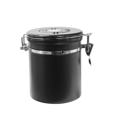 單排氣茶葉咖啡豆密封罐-黑1.4L