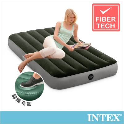 INTEX 經典單人加大充氣床墊-內建腳踏幫浦-寬99cm(64761)