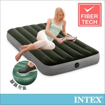 INTEX 經典單人加大充氣床墊(fiber-tech)-內建腳踏幫浦-寬99cm(64761)