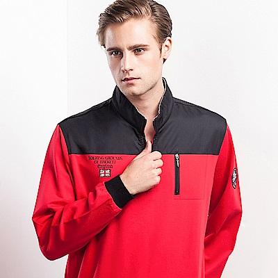 歐洲貴族oillio 長袖T恤 防風布料 特色口袋拉鍊 紅色